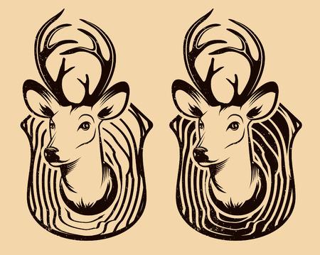 black deer: Vintage Deer head isolated. Set of deer heads. Vector illustration.
