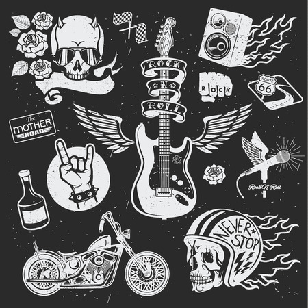 roll bar: Rock themed badges. Vector set. Set of vector symbols related to rock and roll.