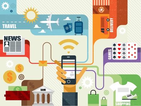 servicios publicos: Vector infografías creativas planas modernas de diseño de la aplicación de los servicios públicos. Ir de compras, banca en línea, juegos, comida de entrega, noticias. Vectores