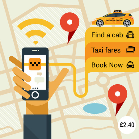yellow cab: Male hand holding phone with taxi hire service application running Illustration