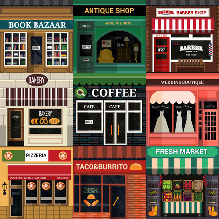 Set of vector detailed flat design cafe, restaurants and shops facade icons. Vettoriali
