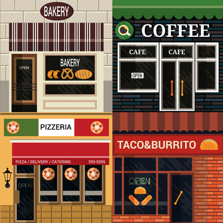 Set of vector detailed flat design cafe, restaurants facade icons.