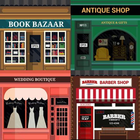 Fachada: Conjunto de vector detalladas tiendas de diseño de planos iconos de fachada. Vectores