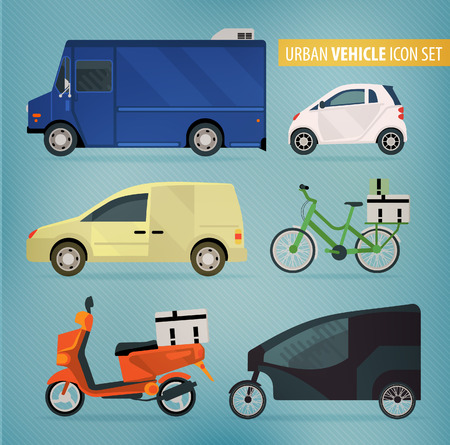 vintage truck: Set of vector modern web icons on city delivery vehicles, cars, vans and trucks.