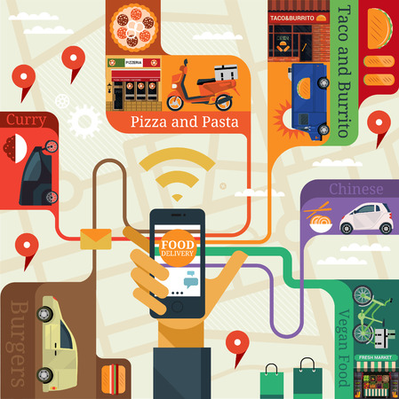 fastfood: Vector hiện đại phẳng sáng tạo thiết kế đồ họa thông tin về ứng dụng các dịch vụ công cộng (thực phẩm giao hàng). Nam tay nắm giữ điện thoại với các ứng dụng dịch vụ.