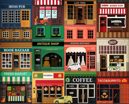 shops street: Shops and vitrine elements. Seamless pattern with cartoon street. Illustration