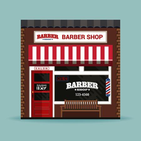 sign pole: barber shop detailed facade background.