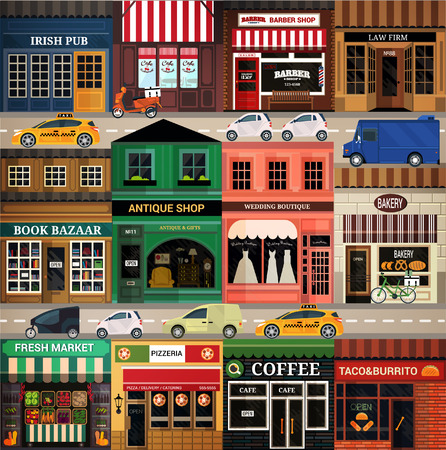 shop: Central street. Set of elements for construction of urban and village landscapes. Vector flat illustration