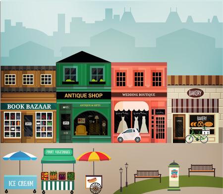 centro comercial: Calle Central. Conjunto de elementos para la construcción de los paisajes urbanos y rurales. Vector ilustración plana