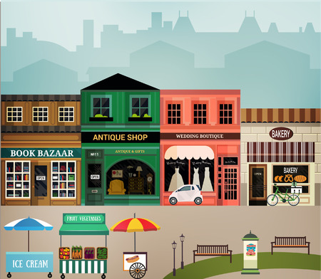 town centre: Central street. Set of elements for construction of urban and village landscapes. Vector flat illustration