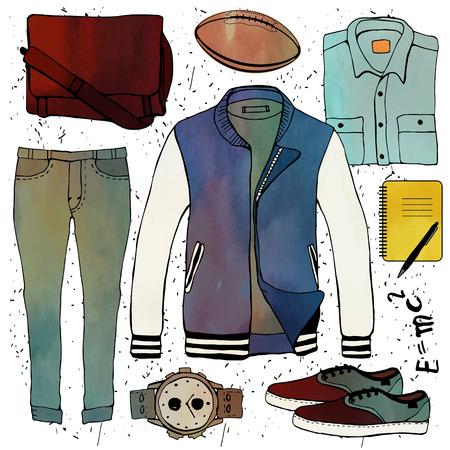 Establece ilustración de moda la ropa. Ropa de hombre. Vector