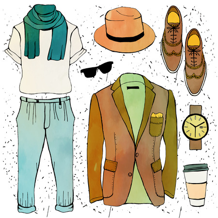 illustrazione moda: Fashion illustration clothing set. Mens clothes. Vector