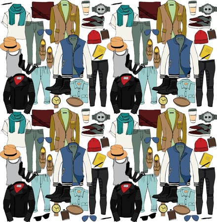 Fashion illustration clothing set. Mens clothes. Vector