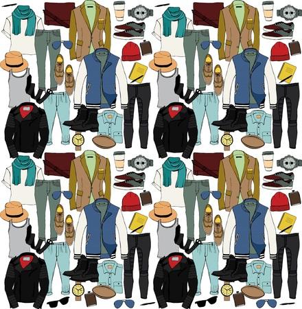 Ilustracja mody odzieży ustawić. Ubrania męskie. Wektor