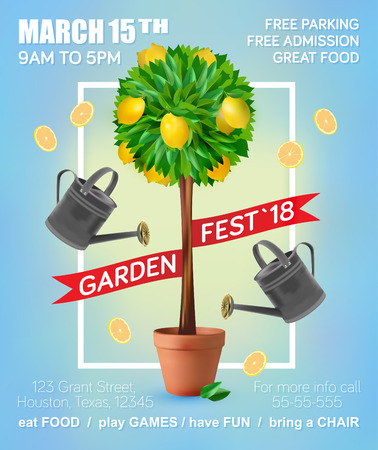 fertilizers: Spring Garden Festival. Vector banner design. Fresh summer background with lemons and leaves.