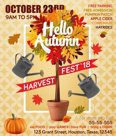 festival vector: Autumn harvest festival. Fall leaf. Vector illustration EPS 10