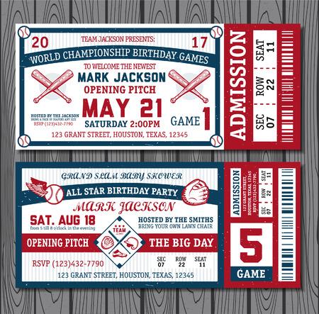 Set of vintage baseball tickets. Vector illustration.