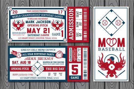 beisbol: Conjunto de boletos de béisbol de la vendimia. Ilustración del vector.
