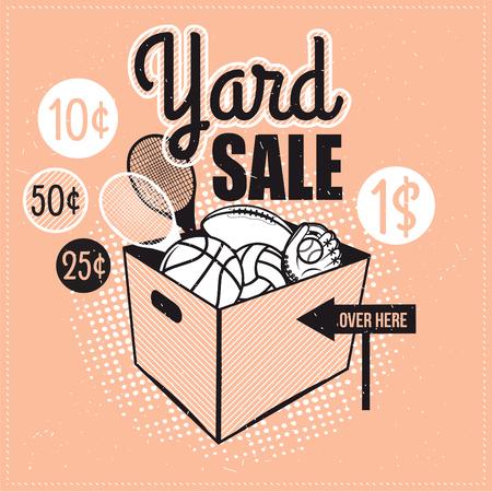 Garage of Yard Sale met tekenen, doos en huishoudelijke artikelen. Vintage printbare poster of banner sjabloon.