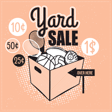 garage sale: Garage or Yard Sale with signs, box and household items. Vintage printable poster or banner template.