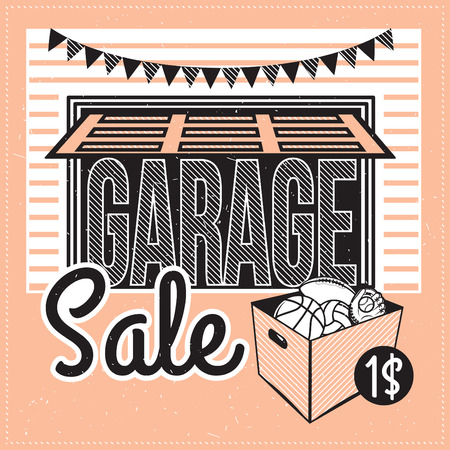 garage on house: Garage or Yard Sale with signs, box and household items. Vintage printable poster or banner template.