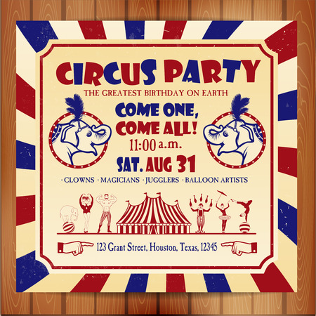 cartoon circus: Birthday card with Circus Ticket. Vector illustration.