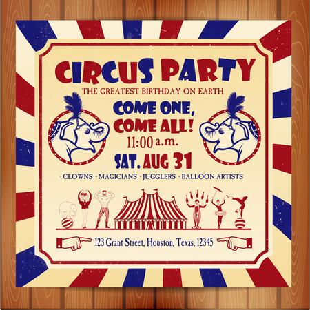 Verjaardagskaart met Circus Ticketservice. Vector illustratie. Stock Illustratie