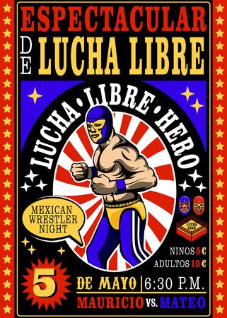 wrestling: Set of vintage Lucha Libre tickets Vector illustration.