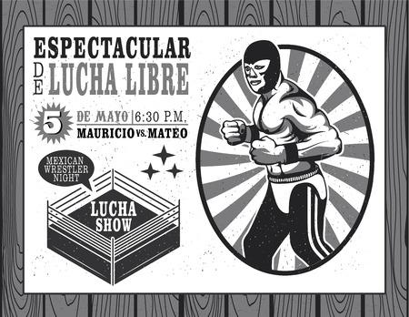 traje mexicano: Conjunto de la vendimia Lucha Libre ilustración vectorial boletos.
