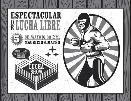 Set of vintage Lucha Libre tickets Vector illustration.