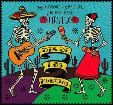 dia de los muertos: Day of the Dead . The skeleton dance.