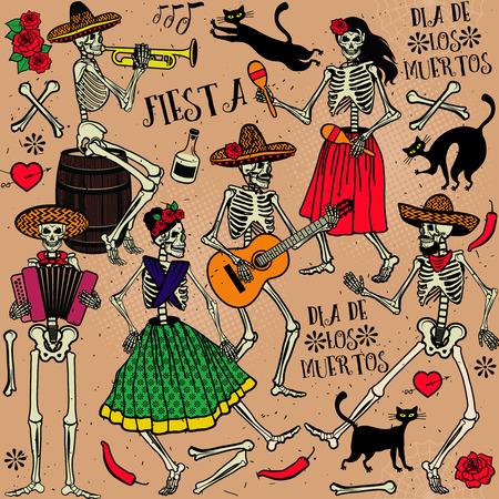 tanzen: Tag der Toten . Das Skelett Tanz. Illustration
