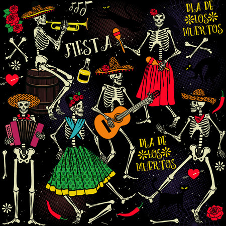 dia de muerto: Dia de los Muertos . La danza esqueleto.