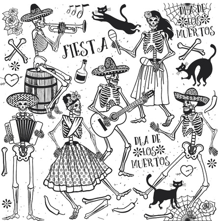 mexicans: Day of the Dead . The skeleton dance.