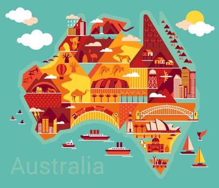 Australië kaart met landschap en dier. Vector illustratie. Stockfoto - 46040939