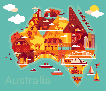 barco caricatura: Australia mapa con el paisaje y los animales. Ilustración del vector. Vectores