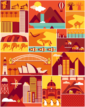 Australia poster with landscape and animal. Vector illustration.