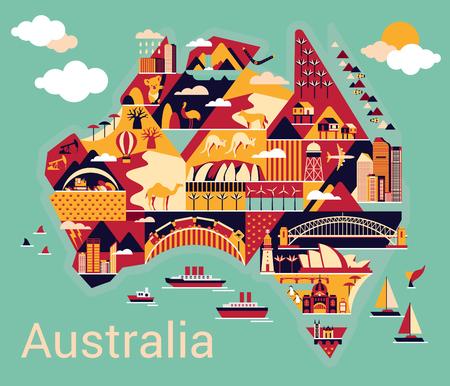 Carte de l'Australie avec le paysage et animale. Vector illustration.