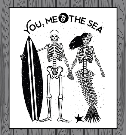 esqueleto: Esqueleto Surfer y la sirena. Ilustraci�n del vector con esqueletos.
