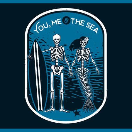 Skeleton Surfer and Mermaid. Vector illustration with skeletons.