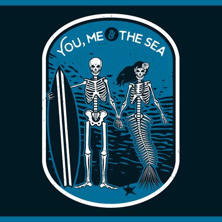Skeleton Surfer and Mermaid. Vector illustration with skeletons.