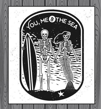 woman underwater: Skeleton Surfer and Mermaid. Vector illustration with skeletons.