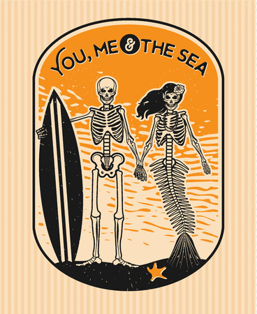 mermaid: Skeleton Surfer and Mermaid. Vector illustration with skeletons.