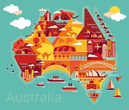 cartoon mushroom: Australia map with landscape and animal. Vector illustration. Illustration