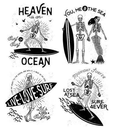 casados: Ilustración vectorial con el esqueleto que practica surf y la sirena