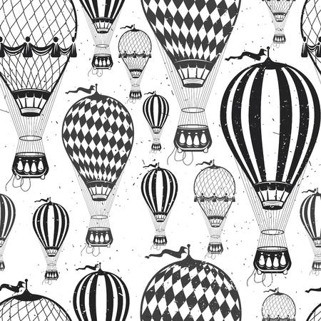 Vintage  Color Air balloon pattern.  Vector illustration.