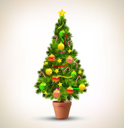 decorated: Vector illustration of decorated Christmas tree