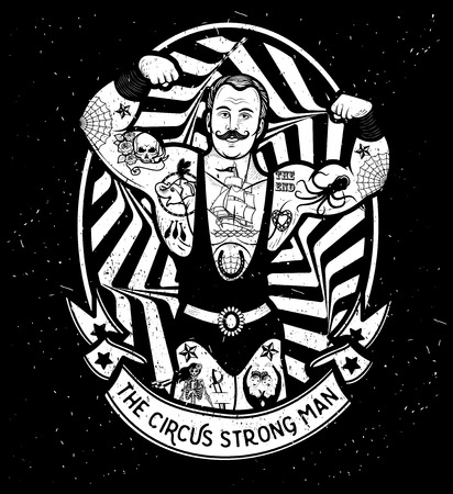 De sterke man. Vector illustratie. Illustratie van circus ster.
