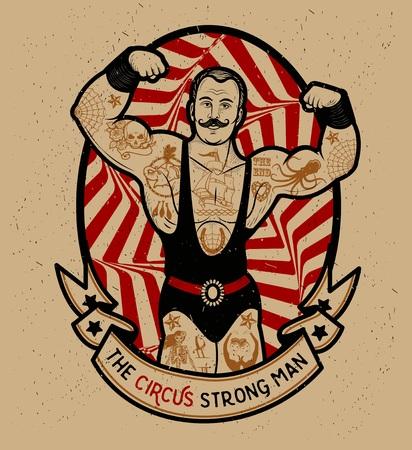 muscle: El hombre fuerte. Ilustración del vector. Ilustración de la estrella del circo.