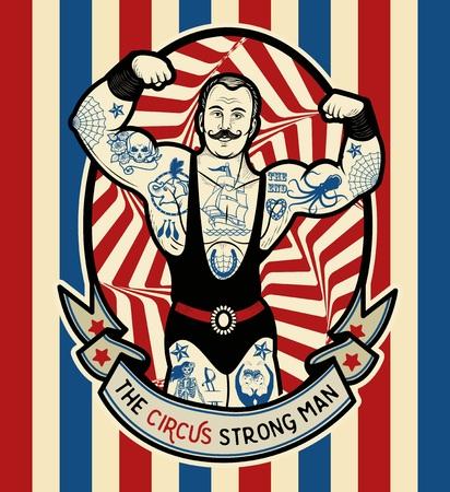 El hombre fuerte. Ilustración del vector. Ilustración de la estrella del circo.